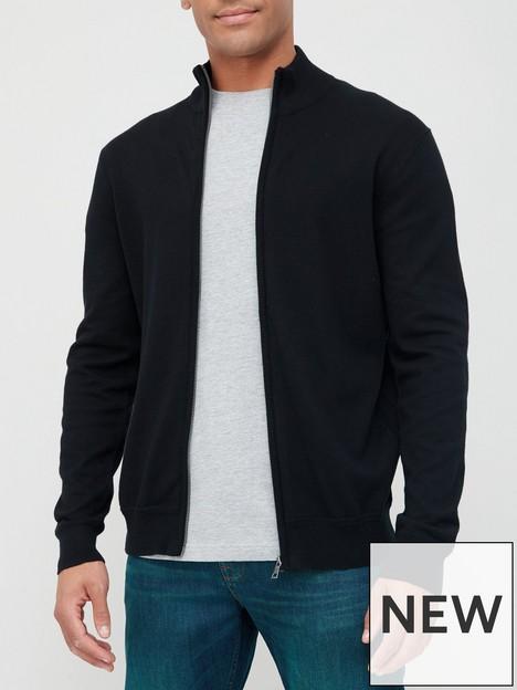 very-man-cotton-rich-zip-through-sweater-black