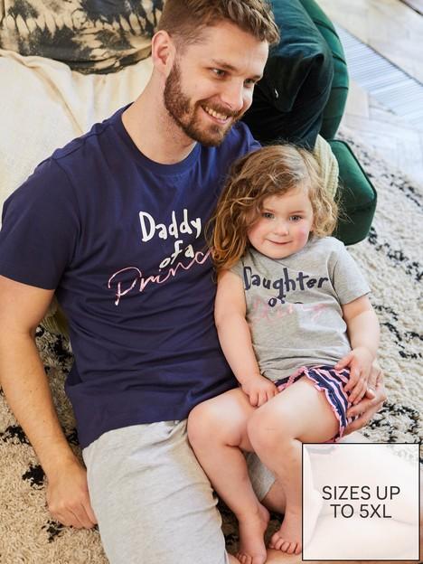 very-man-fathers-day-daddy-of-a-princess-pjnbspset-navygrey