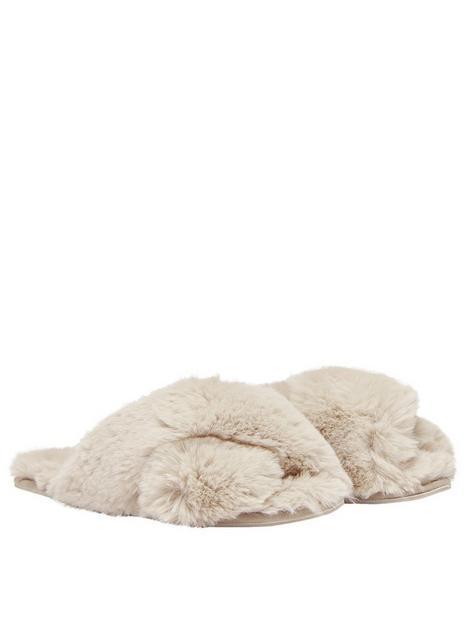joules-cross-strap-faux-fur-slider-slippers-beige