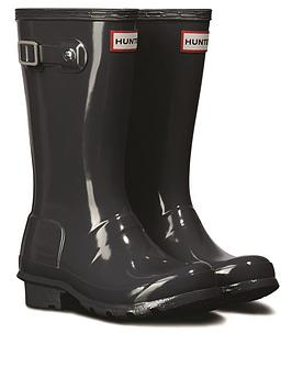 Hunter Hunter Original Kids Gloss Wellington Boots, Slate, Size 12 Younger