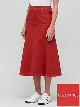 kenzo-flared-bottom-long-skirt-red