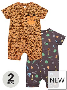 mini-v-by-very-baby-boys-2-pack-jungle-shorty-romper-suits-multi