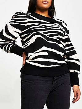 ri-plus-plus-zebra-blouson-sleeve-sweat-black-animal
