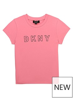 dkny-girls-logo-t-shirt-apricot