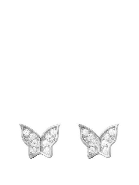 the-love-silver-collection-the-love-silver-collection-butterfly-cubic-zirconia-studs