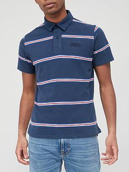 Superdry Academy Stripe Polo Shirt - Navy Stripe , Navy Stripe, Size S, Men