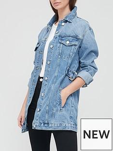 v-by-very-longline-side-buckle-denim-jacket-dark-wash
