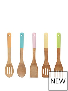 premier-housewares-5-piecenbsppastel-coloured-bamboo-utensil-set-multi