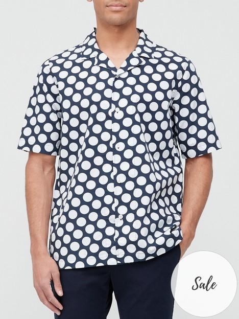 albam-utility-polka-dot-short-sleeve-shirt-navywhite