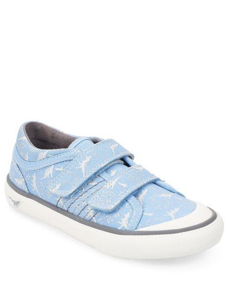 start-rite-jurassic-canvas-strap-plimsoll-blue