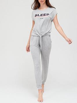 v-by-very-slogannbspknot-front-pyjamas-greynbsp