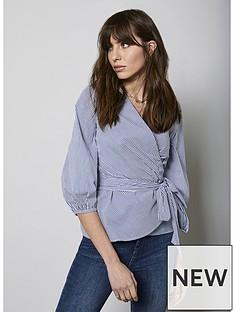 mint-velvet-stripe-volume-sleeve-wrap-top-mono