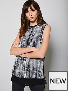 mint-velvet-della-print-blocked-top-grey