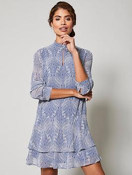 mint-velvet-ada-print-tiered-mini-dress-blue