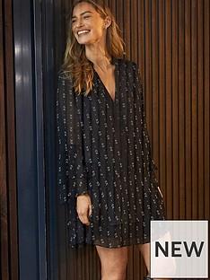 mint-velvet-claire-print-flute-sleeve-mini-dress-black
