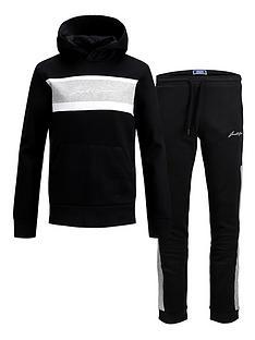 jack-jones-junior-boys-script-logo-hoodie-and-jog-set-black