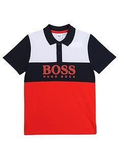boss-boys-short-sleeve-colour-block-polo-redblackwhite