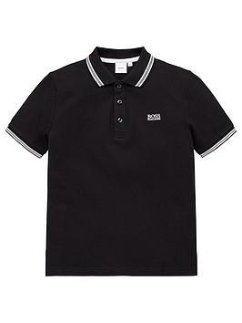 boss-boys-short-sleeve-logo-polo-shirt-black