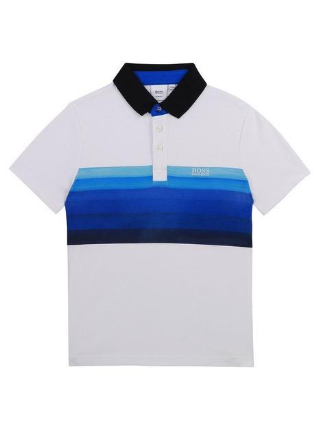 boss-boys-short-sleeve-colour-block-polo-white