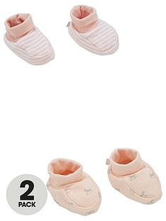 the-little-tailor-baby-girls-2-pack-soft-jersey-baby-booties-pink