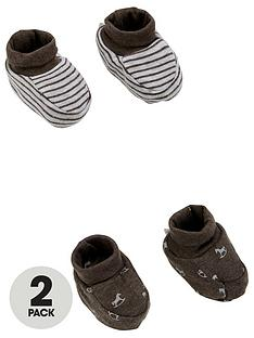 the-little-tailor-unisex-baby-2-pack-soft-jersey-baby-booties-charcoalgrey-marl