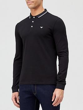 Emporio Armani Tipped Collar Long Sleeve Polo Shirt - Black
