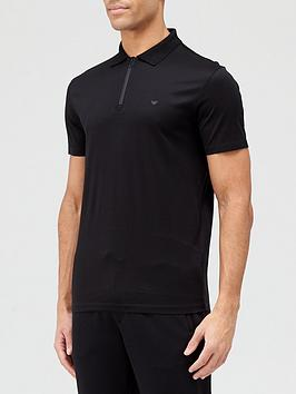 Emporio Armani Zip Polo Shirt - Black