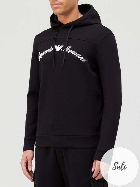 emporio-armani-script-logo-overhead-hoodie-black