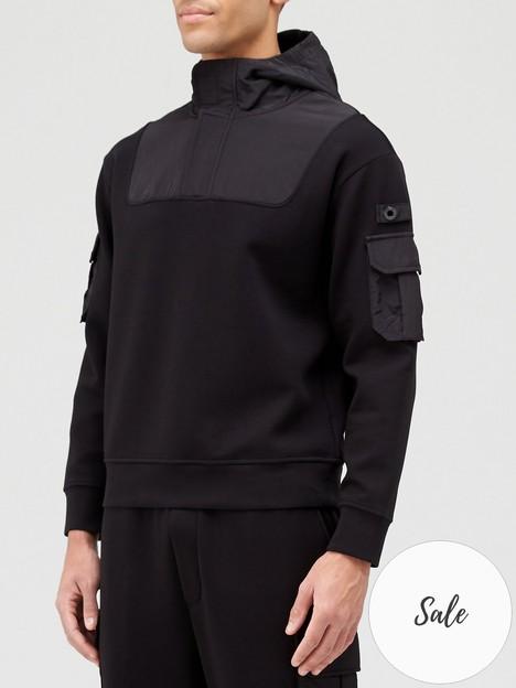 emporio-armani-nylon-pocket-overhead-hoodie-black