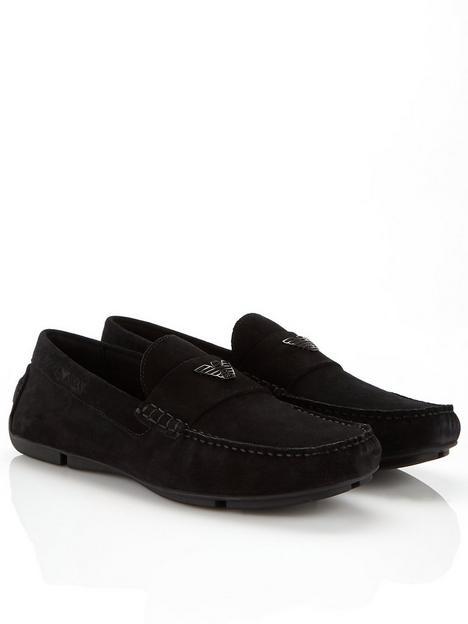 emporio-armani-mensnbspzinos-suede-driver-loafers-black