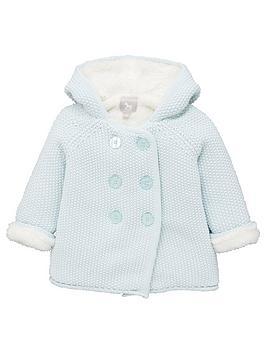 The Little Tailor Baby Boys Pram Coat Plush Lined - Blue