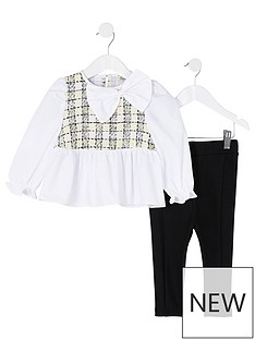 river-island-mini-mini-girls-boucle-shirt-and-legging-set-whiteblack