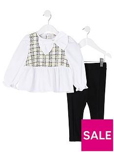 river-island-mini-mini-girls-boucle-shirt-and-legging-set-whiteblack