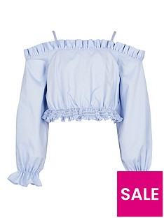 river-island-girls-cold-shoulder-bardot-shirt-blue