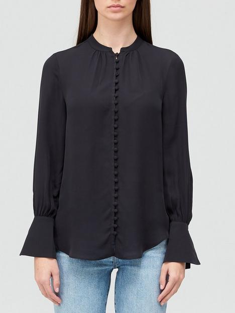 joie-tariana-button-thru-frill-sleeve-blouse-black