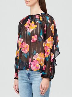 joie-kriston-floral-frill-sleeve-blouse-black