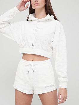 Juicy Couture Jacquard Monogram Terry Towel Oversized Crop Hoodie - White
