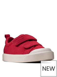 clarks-city-bright-toddler-canvas-plimsoll--red