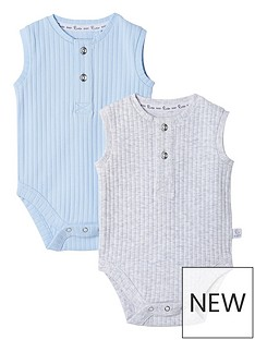 river-island-baby-baby-blue-grandad-ribbed-baby-grow-2-pack
