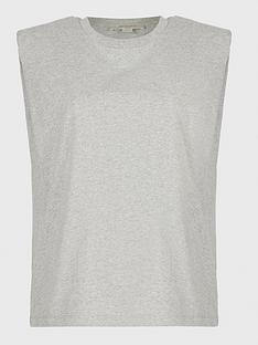 allsaints-coni-jersey-top-with-shoulder-pads-grey-marl
