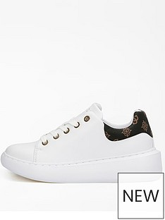 guess-logo-back-cupsole-trainer-whitebrown