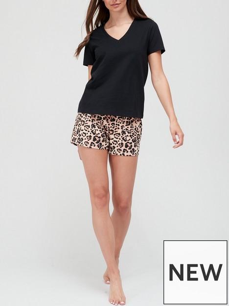 v-by-very-t-shirt-amp-shorts-pyjama-set-animalnbsp