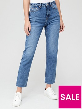 v-by-very-short-premium-high-waist-straight-jean-mid-wash