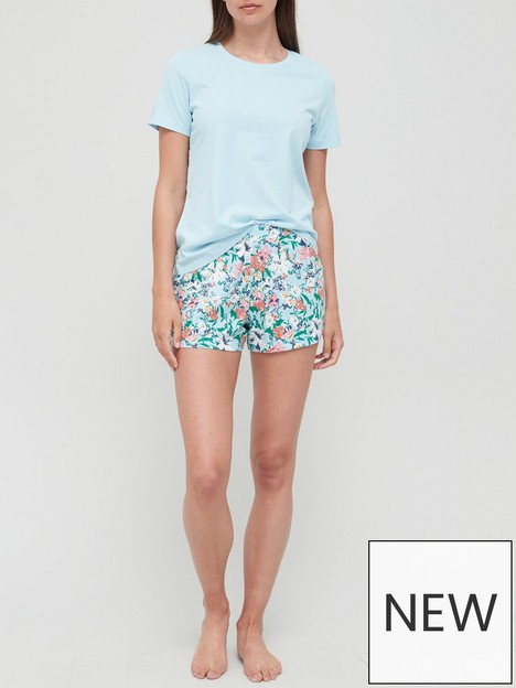 v-by-very-floral-t-shirt-and-shorts-pyjamas-blue-floral-print
