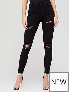 v-by-very-shortnbsppremium-high-waist-various-rip-skinny-jean-black