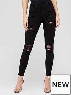 v-by-very-premium-high-waist-various-rip-skinny-jean-black