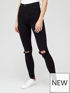 v-by-very-premium-high-waist-knee-rip-skinny-jean-black
