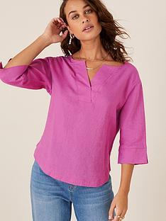 monsoon-daisy-linen-t-shirt-pink