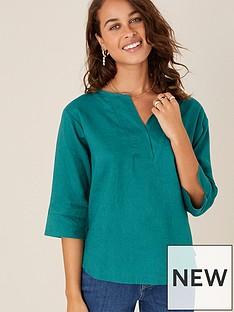 monsoon-daisy-linen-t-shirt-teal