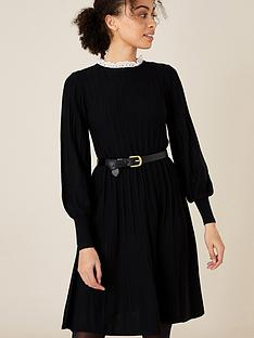 monsoon-recycled-polyester-woven-trim-dress-black